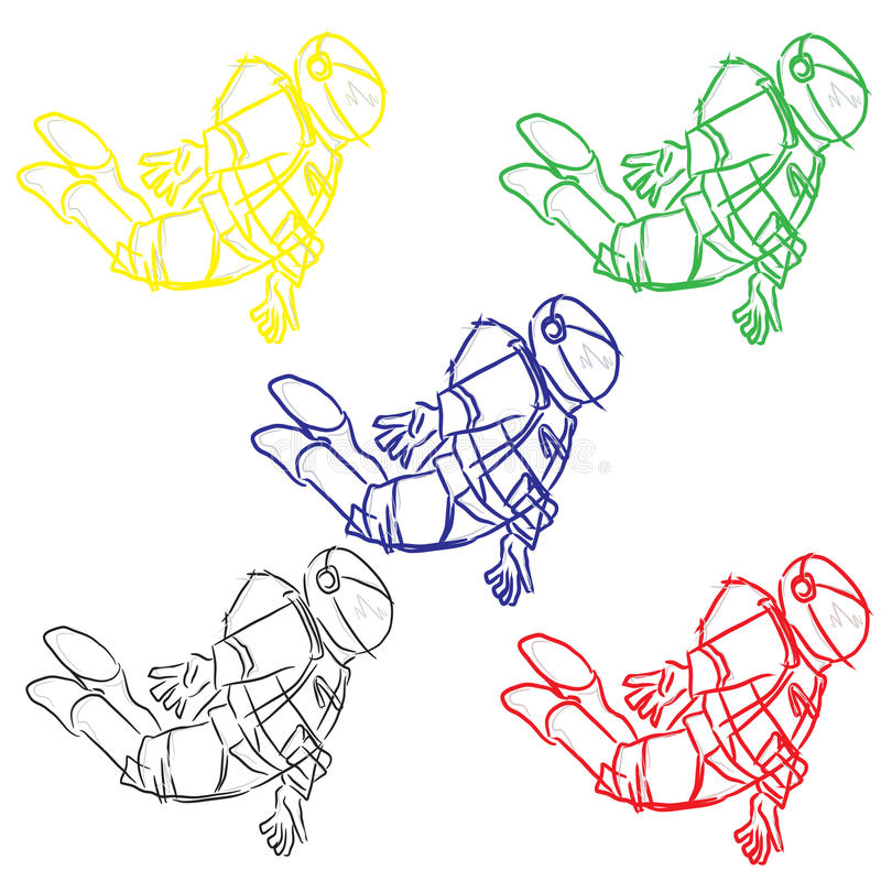 Astronauts in four colors royalty free illustration