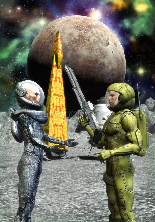 Astronauts Human And Alien Stock Image