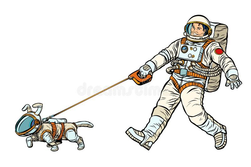 Astronauts man and dog isolated on white background vector illustration