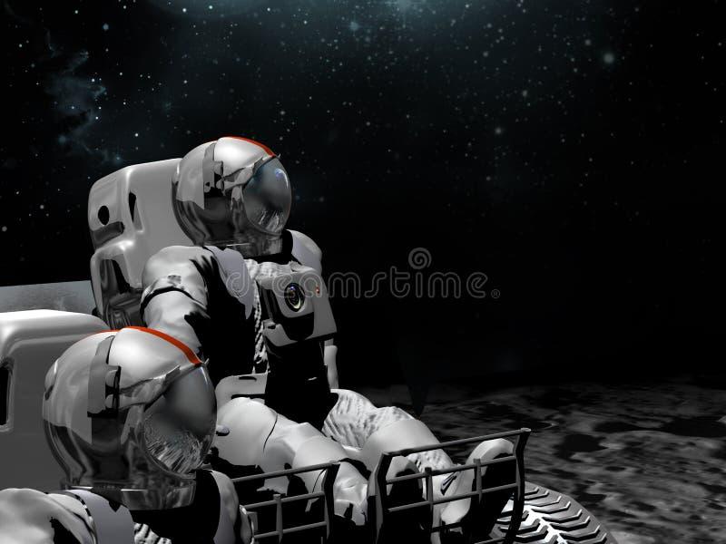 Astronauts on the Moon stock illustration
