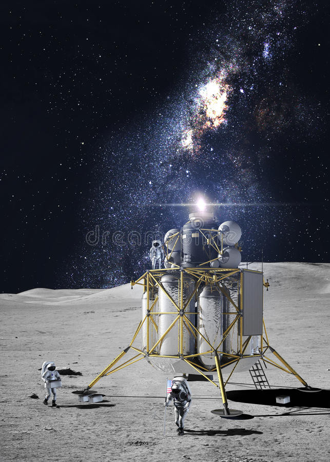 Astronauts on the moon stock photography
