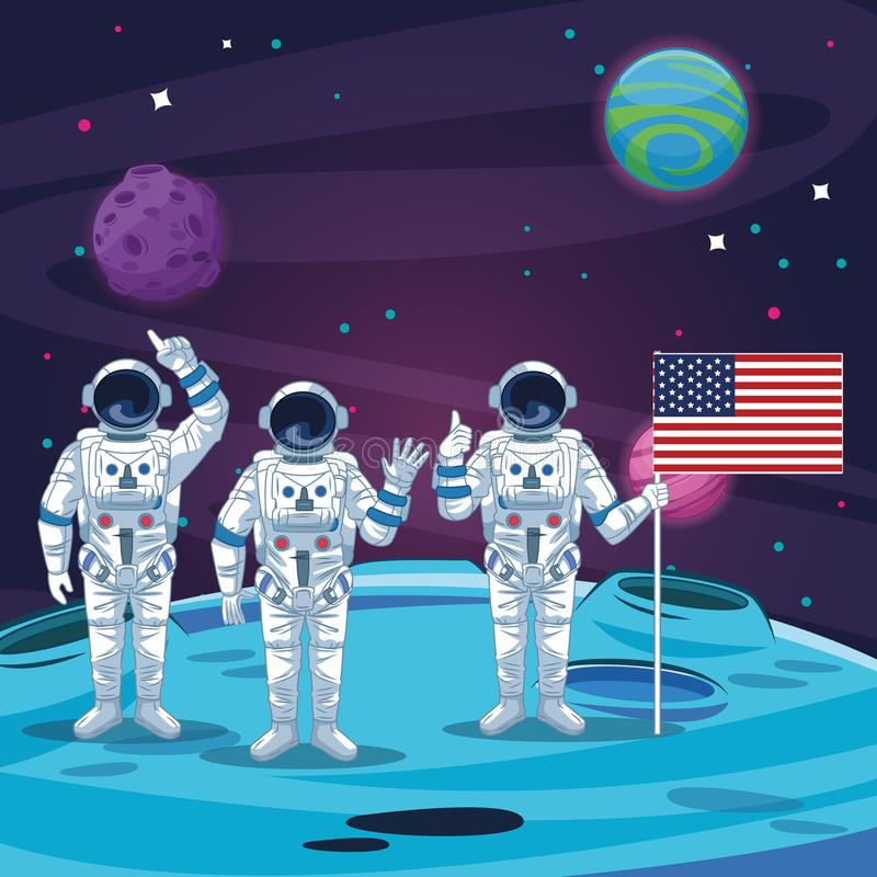 Astronauts in the moon scenery. Astronauts with united states flag in the moon scenery vector illustration graphic design stock illustration