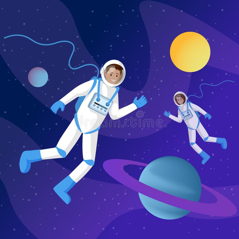 Astronauts in outer space flat illustration. Two cosmonauts in spacesuits floating in cosmos zero gravity cartoon vector. Characters. Interstellar travel royalty free illustration