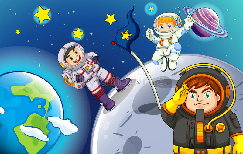 Astronauts in the outerspace. Illustration of the astronauts in the outerspace royalty free illustration