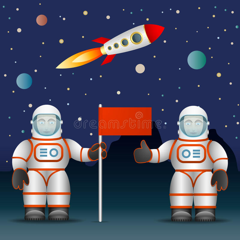 The astronauts. On the planet's surface a flag. Space and Astronautics. The rocket and the starry sky. Vector graphics stock illustration