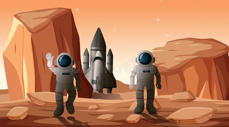 Astronauts on planet scene. Illustration stock illustration