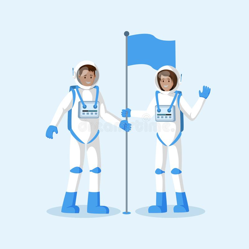 Astronauts planting flag flat vector illustration. Male and female smiling cosmonauts wearing spacesuits, waving hand. Cartoon characters. Another planet, moon stock illustration