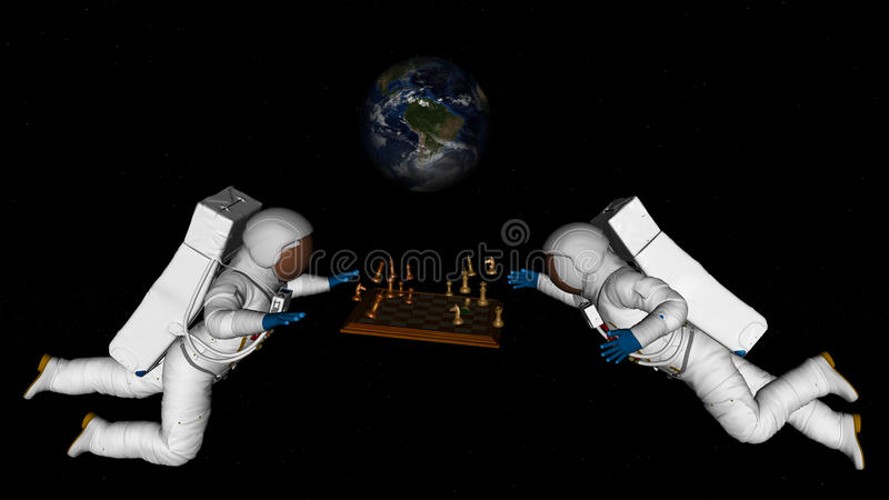 Astronauts Play Chess in Space. Illustration of two astronauts spacewalking in space and playing the game of chess. Lack of gravity is making the chess pieces vector illustration