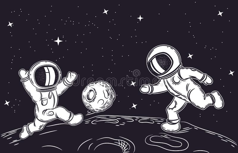 Astronauts playing football. Vector illustration on the theme of astronomy. Outer space. Astronauts playing football. Vector illustration on the theme of royalty free illustration