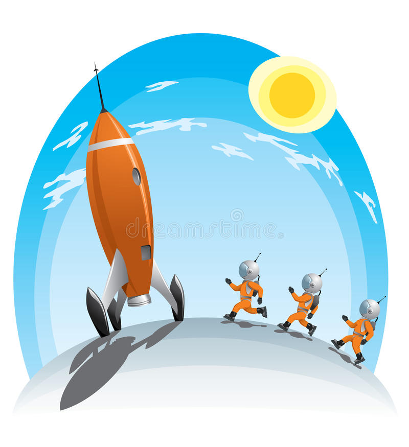 Astronauts and the rocket royalty free illustration