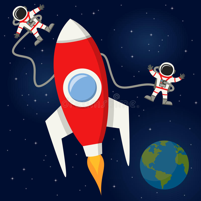 Astronauts & Rocket in the Outer Space. Two astronauts floating near a red rocket in the outer space, on a dark blue space background with bright stars and royalty free illustration