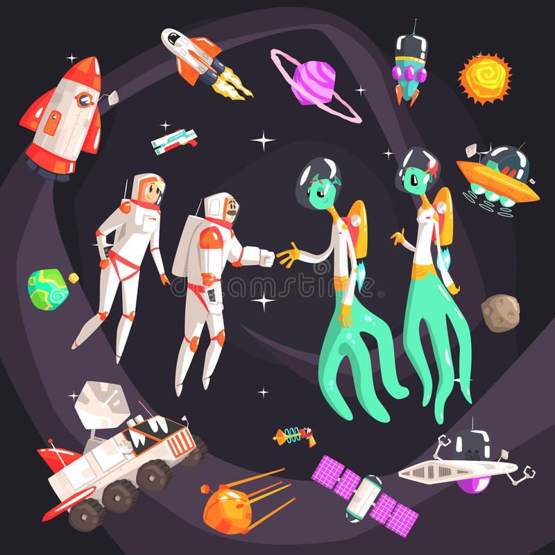 Astronauts Shaking Hands With Extraterrestrial Beings In Space Surrounded By Travel Related Objects. Astronauts Shaking Hands With Extraterrestrial Beings In vector illustration