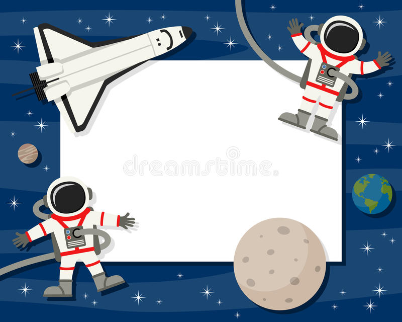 Astronauts & Shuttle Horizontal Frame Stock Vector