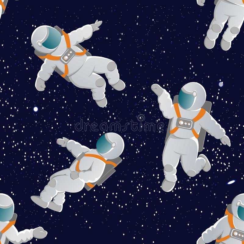 Astronauts with space suits in various poses. Seamless vector pattern. Astronauts with space suits in various poses. Space and stars. Illustration for gift paper stock illustration