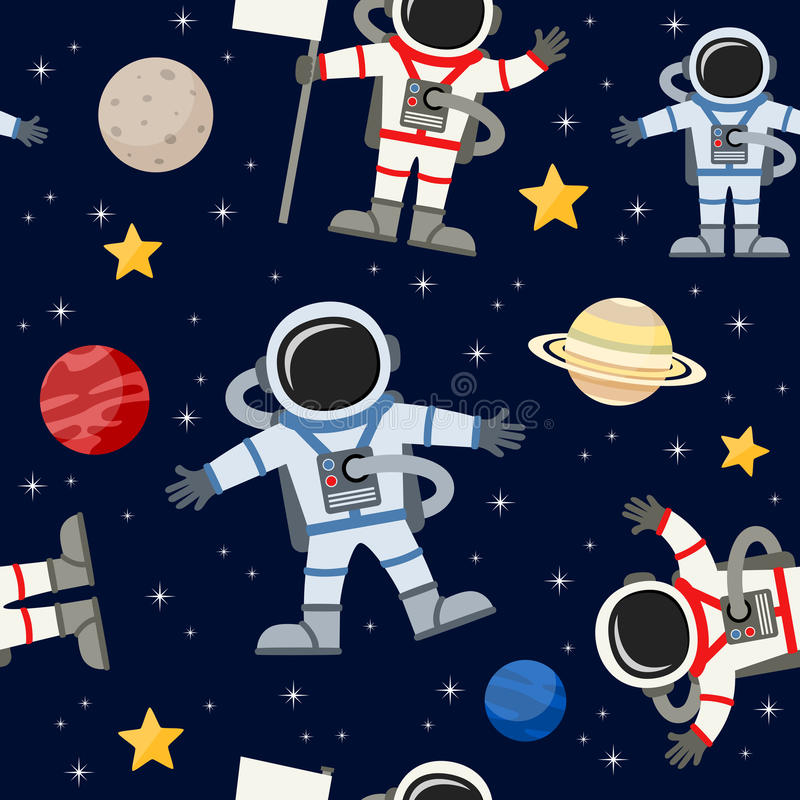 Astronauts Spacemen Seamless Pattern. A cartoon seamless pattern with astronauts or spacemen and planets, on dark blue background with bright stars. Eps file stock illustration