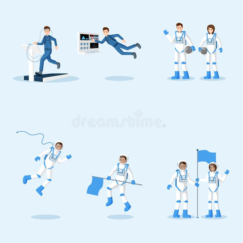 Astronauts in spacesuits flat illustrations set. Male and female cosmonauts training, space mission isolated cliparts. Pack. Universe explorers floating in zero vector illustration