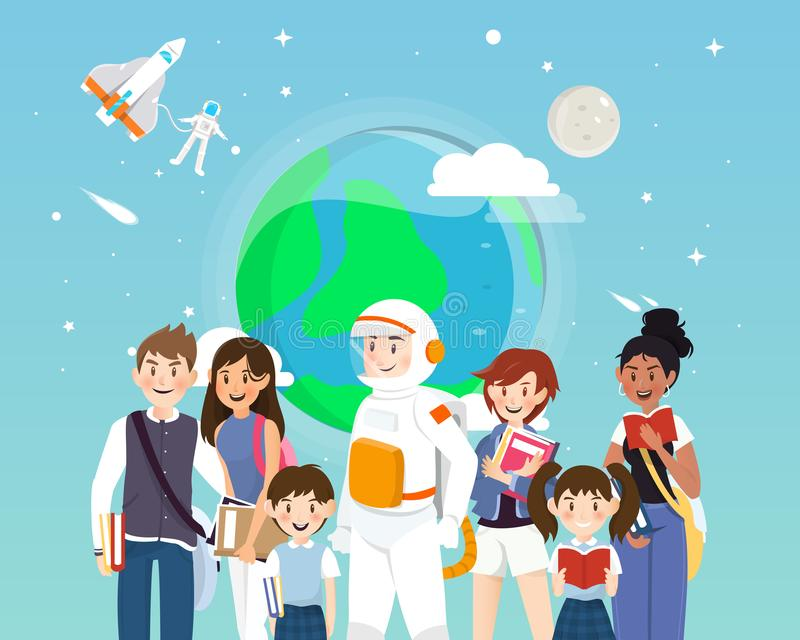 Astronauts and students in space concepts. stock illustration