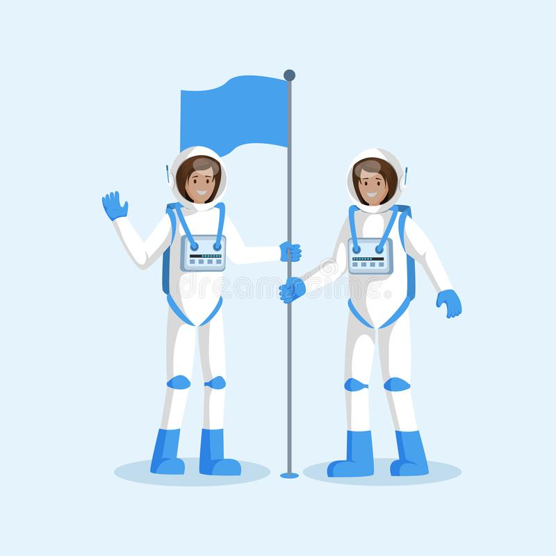 Astronauts team placing flag flat illustration. Female smiling cosmonauts wearing spacesuits, waving hand cartoon. Characters. Alien planet, moon landing, space vector illustration