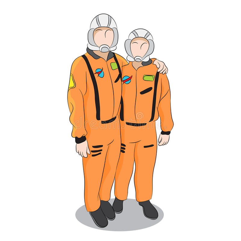 Astronauts in Uniform. An image of two astronauts posing in uniform stock illustration