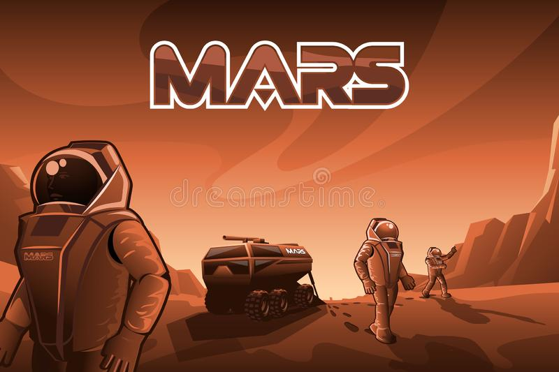 Astronauts walk on Mars. EPS 10. Vector file stock illustration