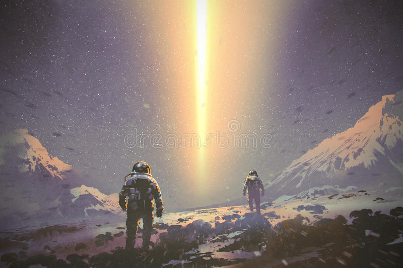 Astronauts walking to mystery light beam from the sky. Sci-fi concept, illustration painting royalty free illustration