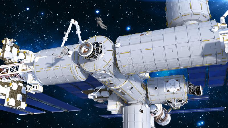 Astronauts working on space station, cosmonauts floating outside of spacecraft airlock, 3D render. Ing royalty free illustration