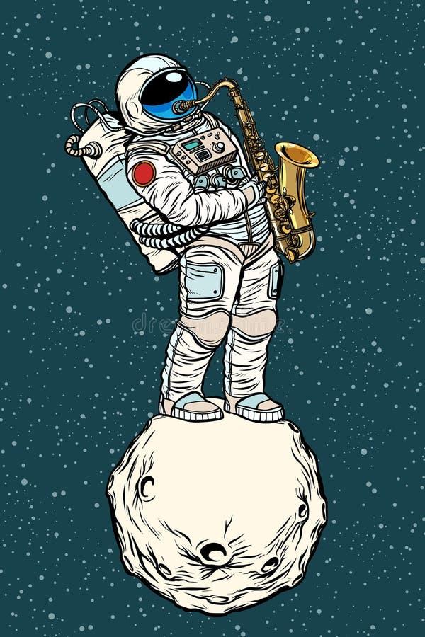 Astronautsaxofonisten spelar jazz i utrymme, saxofonmusikalins stock illustrationer