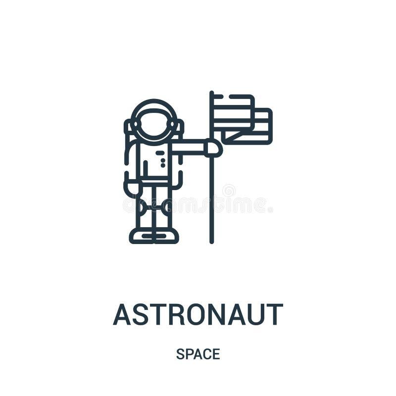 astronautsymbolsvektor från utrymmesamling Tunn linje illustration för vektor för astronautöversiktssymbol stock illustrationer
