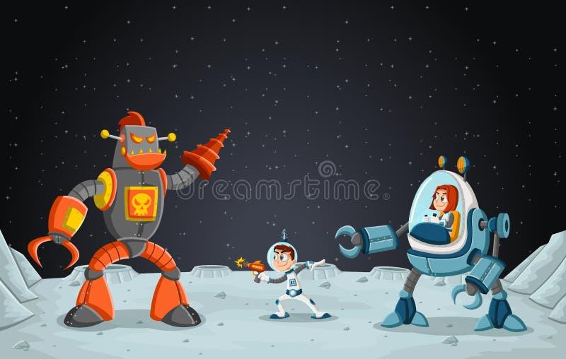 Astronauttecknad filmbarn som slåss en robot på månen stock illustrationer