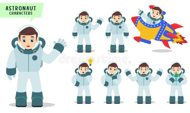 Astronautvektortecken - uppsättning Astronautungar som talar och rider raket med handen, gör en gest och poserar royaltyfri illustrationer
