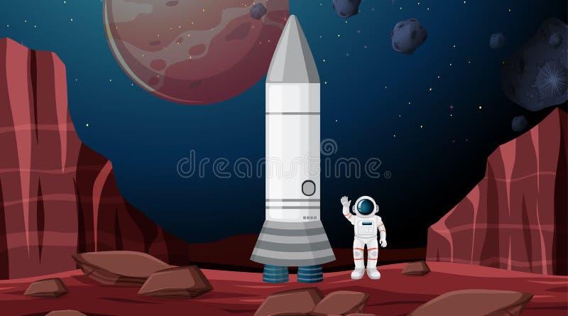 Astronauty i rakiety scena royalty ilustracja