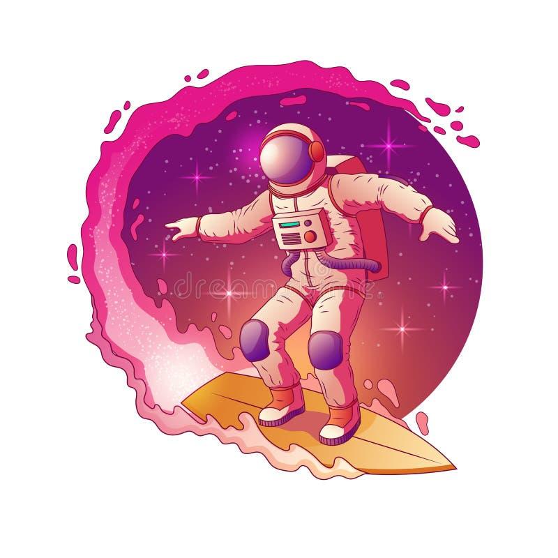 Astronauty surfing w kosmos kresk?wki wektorze royalty ilustracja