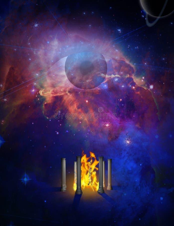 Astronautyczna świątynia ogień ilustracji
