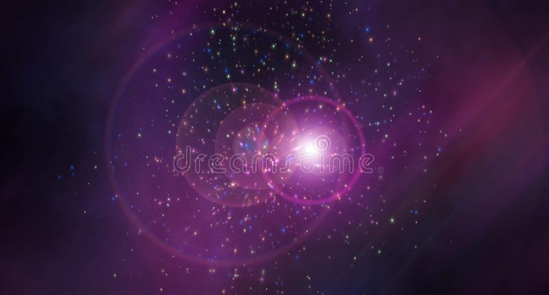 Astronautyczna abstrakcja z skutkiem lekka refrakcja - gwiazdowy drobina skutek, nowożytny tło, komputer wytwarzający ilustracja wektor