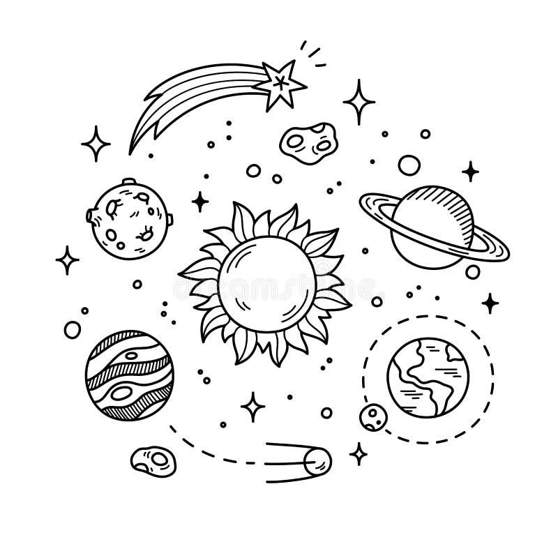 Astronautyczna Doodle ilustracja royalty ilustracja