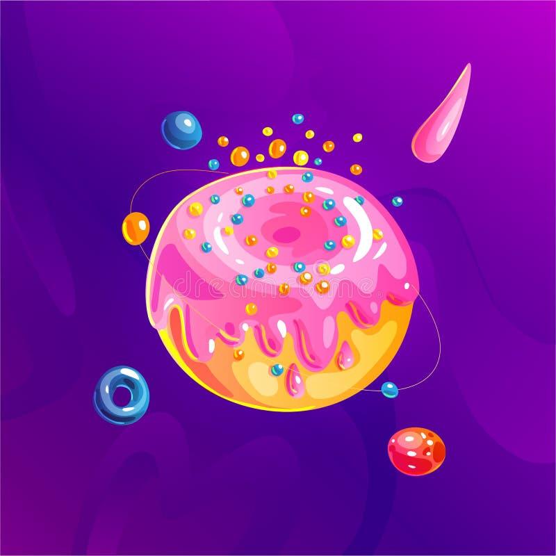 Astronautyczna fantazji planeta, asteroida, księżyc, fantastyczna światowej gry kreskówki wektorowa ikona, ilustracja w pączka cu royalty ilustracja