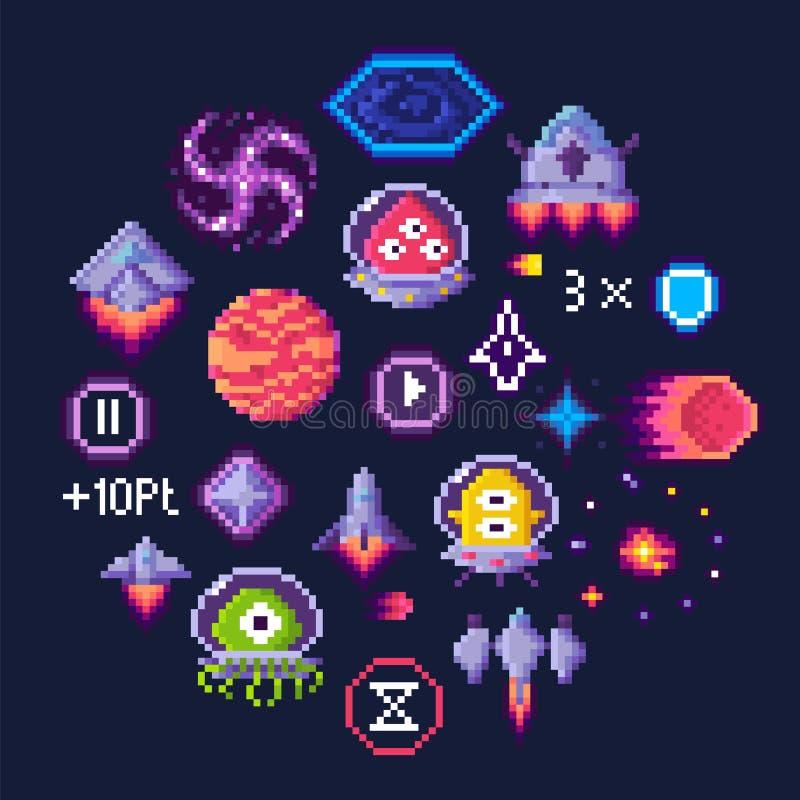Astronautyczna Gemowa piksel sztuka, obcy i statek kosmiczny ikony, royalty ilustracja