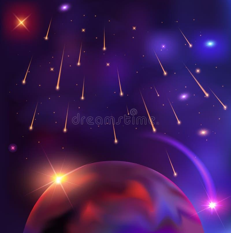 Astronautyczna ilustracja piękny wektorowy tło z śliwkami royalty ilustracja