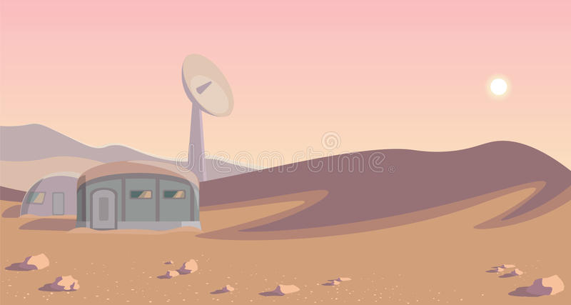 Astronautyczna kolonizacyjna panorama Kolonia na innej planecie Zaokrąglony lineart mąci royalty ilustracja