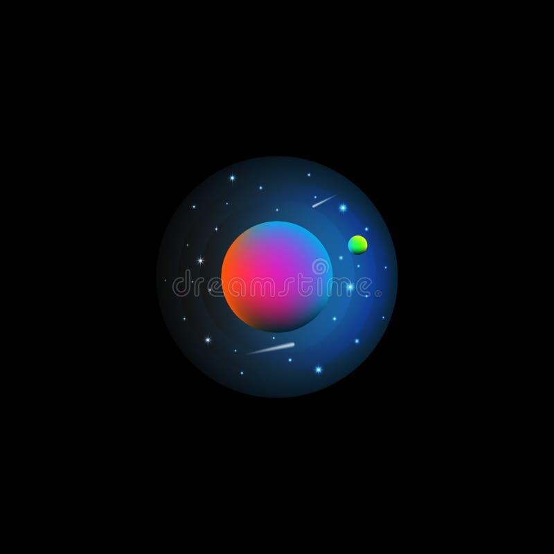 Astronautyczna krajobrazowa ilustracja futurystyczny exoplanet z satelitą przeciw gwiaździstemu niebu z latającymi kometami nauko royalty ilustracja