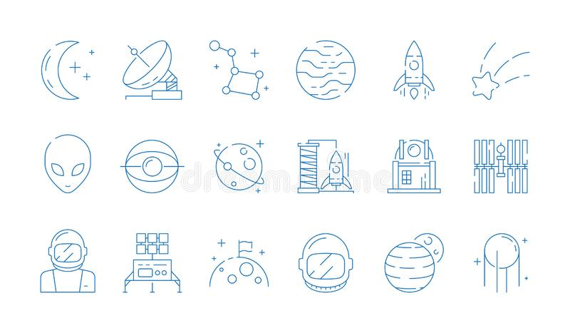 Astronautyczna kreskowa ikona Księżyc astronomii stacji rakiety astronauty gwiazd obcego wektoru ciency symbole ilustracji