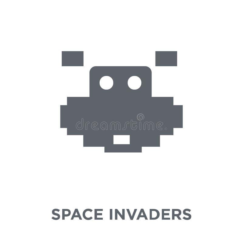 Astronautyczna najeźdźcy ikona od arkady kolekcji ilustracja wektor
