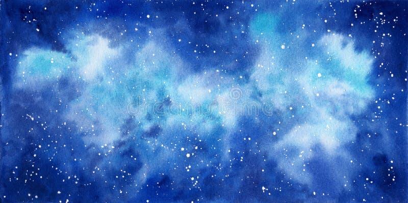 Astronautyczna ręka malujący akwareli tło Abstrakcjonistyczny galaxy obraz ilustracja wektor