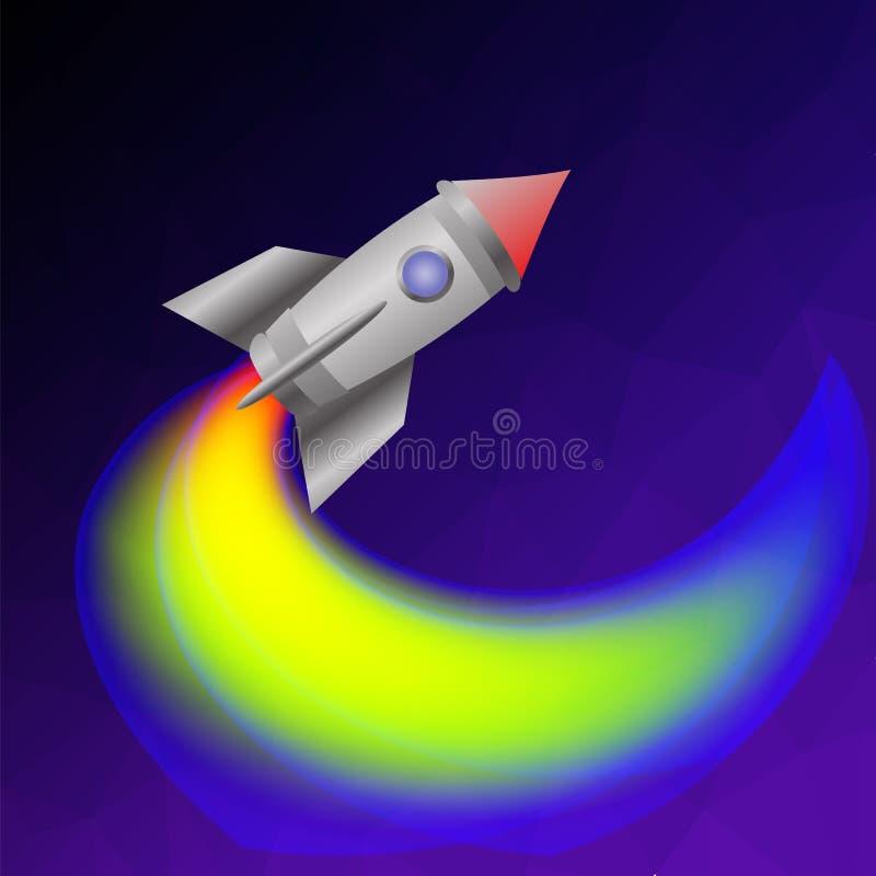 Astronautyczna rakieta na niebieskim niebie ilustracja wektor