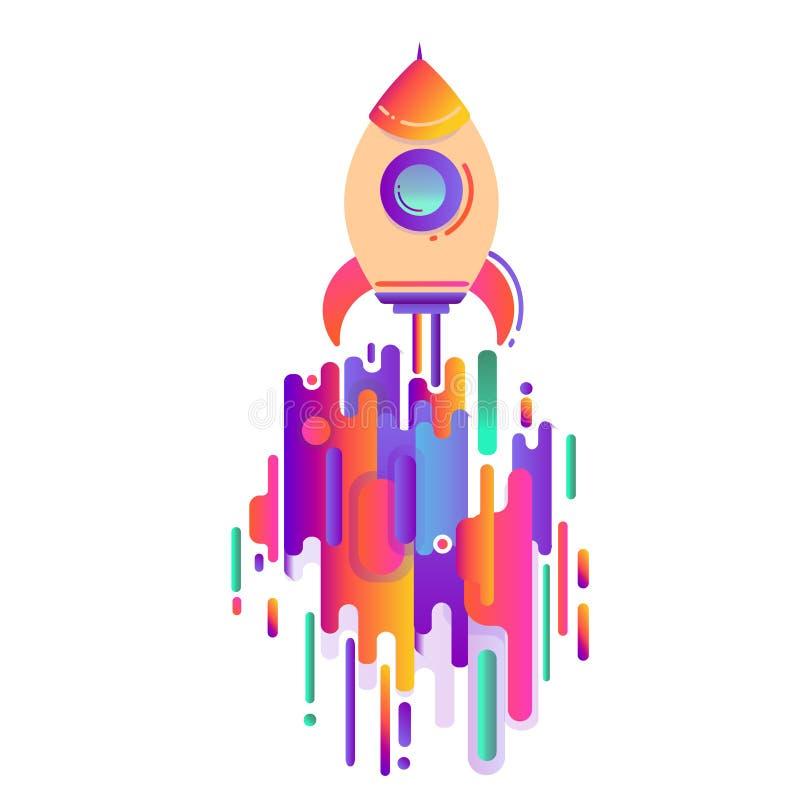 Astronautyczna rakieta pojęcie zaczynać biznes Nowożytna stylowa abstrakcja z składem robić różnorodni zaokrągleni kształty w col ilustracja wektor