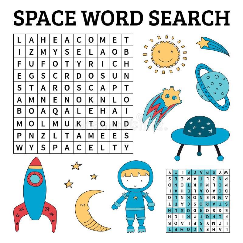 Astronautyczna słowo rewizi gra dla dzieciaków ilustracji
