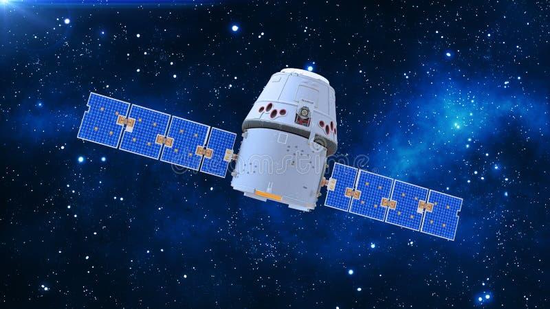 Astronautyczna satelita, komunikacyjna satelita z kapsułą i panel słoneczny w kosmosach z gwiazdami w tle, 3D odpłacamy się ilustracji