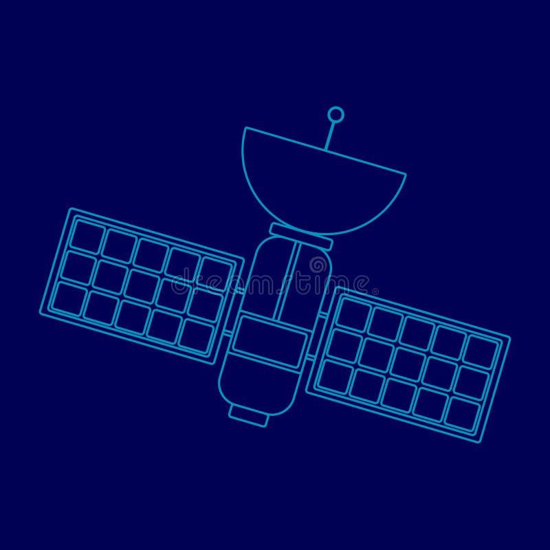 Astronautyczna satelita zrobi jako rysunek w elektronicznej formie na błękitnym tle royalty ilustracja