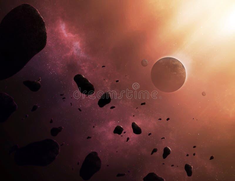 Astronautyczna scena ilustracja wektor
