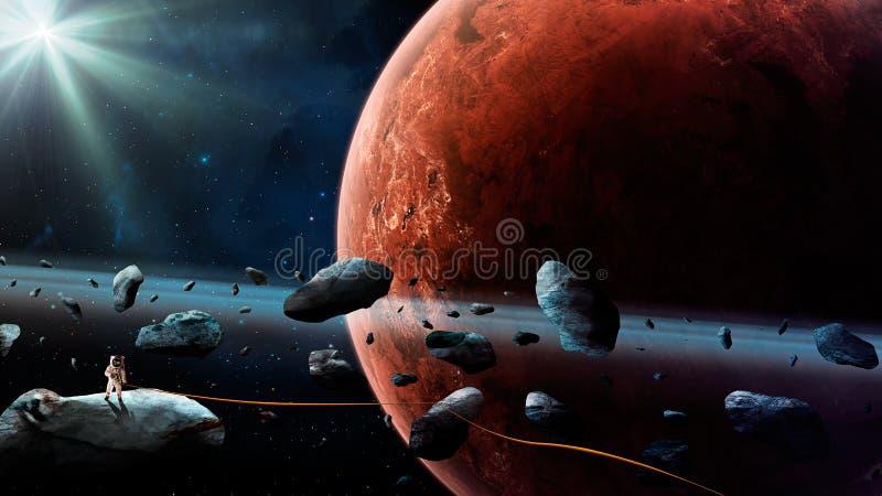 Astronautyczna scena Astronauty stojak na asteroidzie z arkaną i Mars planetujemy na tle Elementy meblujący NASA świadczenia 3 d ilustracji